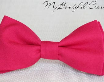 Fuchsia bow tie, Bright pink bow tie, mens bow tie, boys bow tie, wedding bow tie, photo shoot bow tie, ring bearer bow tie, groomsmen bow t