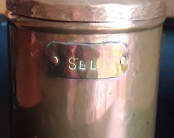 French hammered copper salt container