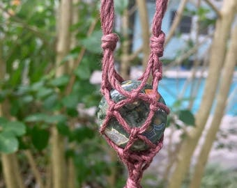 Rainforest Jasper Macrame Necklace