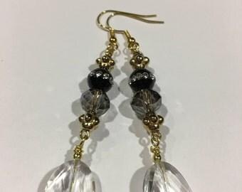 Crystal & Black Rhinestone/w Crystal Clear Dangled Earrings