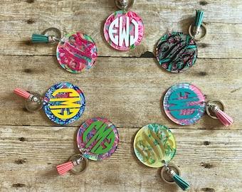 Lilly Pulitzer Inspired Monogram Keychains with Tassels, Monogram Keychains, Custom Peronalized Keychains