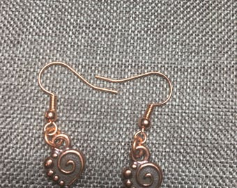 Copper Heart Shaped Earrings
