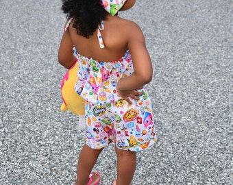 Shopkins Halter Style Romper with Hair Bow