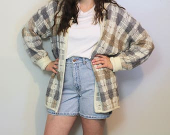 80s PLAID OVERSIZED CARDIGAN| Large| Grey and Tan| Lilly of California|