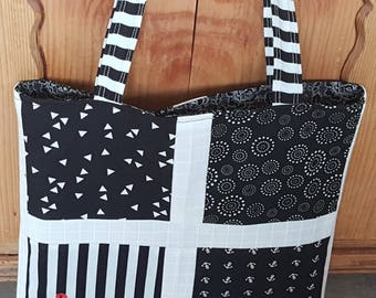 Fabric bag large with long straps, patchwork maritim, black and white