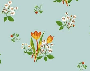 PREORDER - Heather Ross - Spring Blooms in Pale Blue - Kinder - (43482-9) - 1/2 Yard++