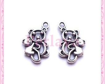Set of 15 charms silver Teddy bear REFP676X3