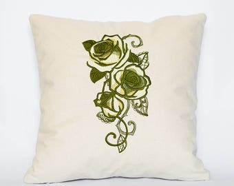 Khaki Floral Embroidered pillow cover, Decorative Pillow Cover, Embroidered Pillow, Natural Linen Pillow Cover
