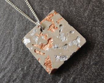 Mixed metal - concrete necklace - contemporary jewelry - geometric necklace - modern necklace - silver concrete - architect jewelry