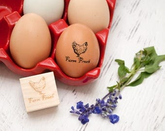 Egg Stamp - Chickens - Wooden Egg Stamp - Fresh Eggs Stamp -  Farm Fresh Eggs - Chicken Coop - Homestead Stamp - Rubber Stamp - Farm Fresh