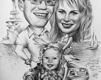 Group сaricature. Pencil caricature on paper.