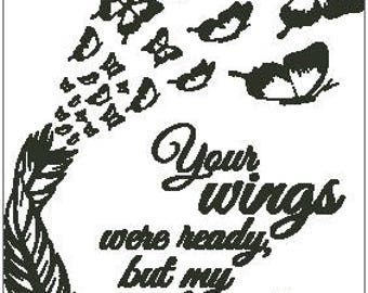 Your Wings Were Ready Cross Stitch Chart - Feather with Butterflies