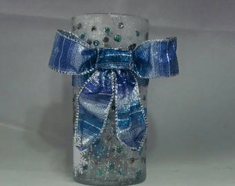 Winter vase, silver and blue, Hand Painted, 7""