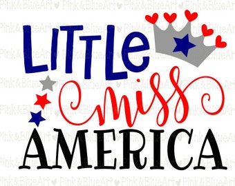 Little Miss America SVG Clipart Cut Files Silhouette Cameo Svg for Cricut and Vinyl File cutting Digital cuts file DXF Png Pdf Eps