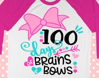 100 days SVG - School svg - 100th day of school svg - Svg for girls - 100 days shirt - Teacher svg - Bow svg - Girls svg , dxf , eps,png,pdf