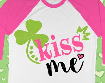 St Patricks Day SVG - St patricks svg - Shamrock svg - Clover svg - Kiss me svg - Irish svg- Little girl svg - Kids svg- DXF, png, pdf, eps