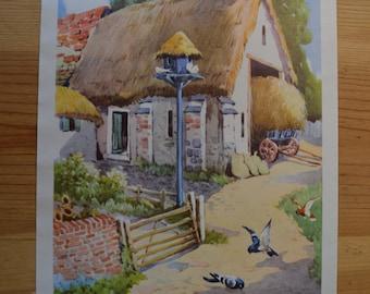 1950s Vintage Farm House Illustration - Farmyard Friends Wall Decor
