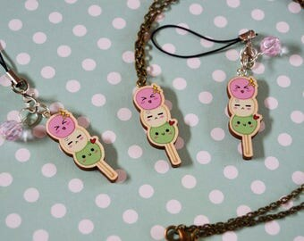 Wooden Japanese Dango * Necklace or Phone Charm