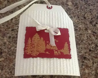 Deluxe Jumbo Embossed Gift Hang Tag 5 x 7 Inches Winter Scene (one tag)