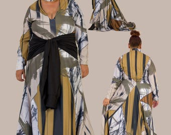 VISETELE A-Line Long Sleeve Dress with Waist Ties and Train (Plus Size)