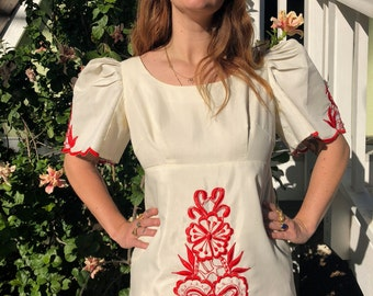 Strawberry Fields Hand Embroidered Maxi Dress