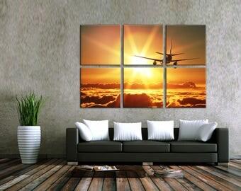 Airplane Multi Panel canvas Plane Home decor Canvas wall art aircraft Large Canvas Wall Art Canvas Print Home Room Decor Wall Art Set