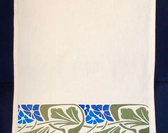 Art Nouveau Tea Towel in Olive and Blue