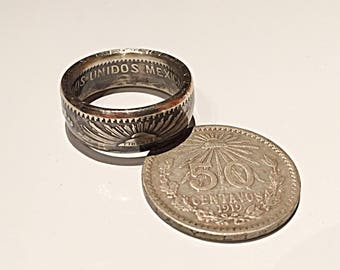 Ring piece 50 centavos Mexico Silver (coin ring)