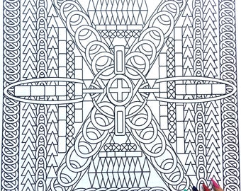 The Crossroads,Adult Coloring Page, Intricate Design, Geometric Repeating Patterns, Symmetrical design,Instant Download, Grownup coloring