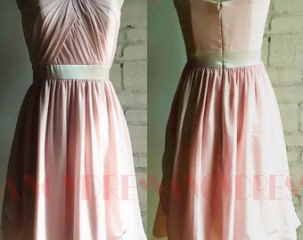 Chiffon Bridesmaid Dress,Short Strapless Dress , Blush Pink Sweetheart Neckline Ball Dress, Knee Length, Cocktail dress