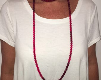 Ruby Red Double Wrap Necklace