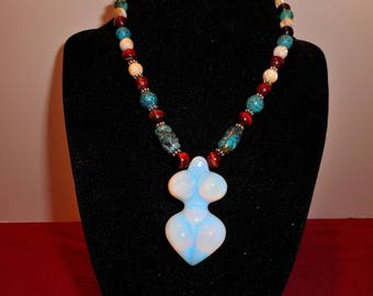 Opal Goddess pendant necklace with semi-precious gemstone beads. Item #108.