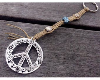 Hippie Peace Sign Keychain- Silver