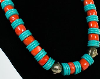 Turquoise and Red Coral  Necklace (DF0033/BN)