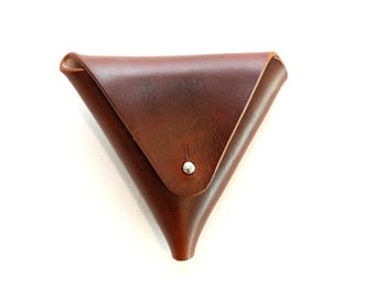 Leather Coin Triangle, Brown