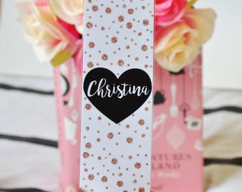 Personalised bookmark, black heart, glitter dots, bookmark, custom bookmark, bookmark with name
