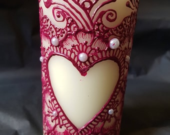Henna Pillar Candle - Customised home decor - gift for teachers, mother's day, birthday, anniversary