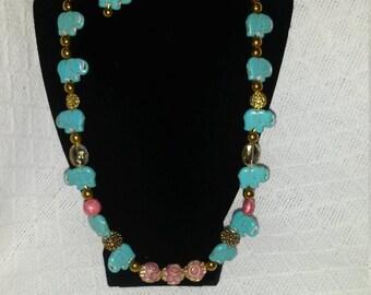 Boho Elephant Necklace, Bracelet, and Earrings
