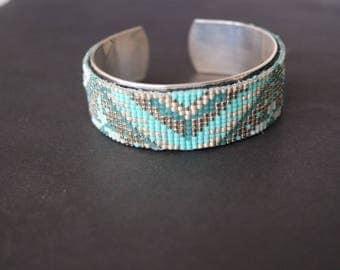 Geometric green and silver Cuff Bracelet