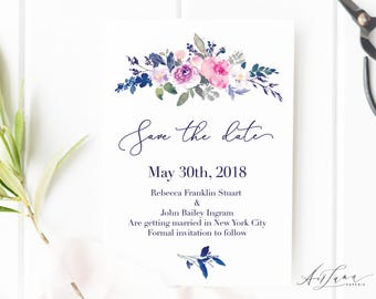 Royal Blue Save-the-date, Save the date, Botanical save the date, Save our Date, Calligraphy  Save the date, Save the Date Magnet 002