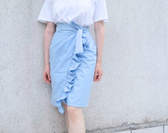 Baby Blue Pencil Skirt- Ruffle Skirt Light Blue- Wrap Skirt Cotton