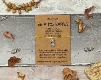 Be a pineapple, Pineapple Bracelet, Pineapple wish bracelet, Pineapple Jewellery, Pineapple party, Graduation Gift, Pineapple Charm, Friend