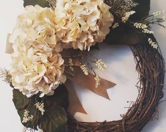 Cream Hydrangea Grapevine Wreath