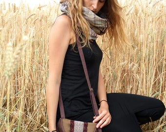 """Small satchel shoulder flap """"Lantana"""" - Brown, plum lace and Pearl"""