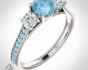 Platinum Three Stone Aquamarine & Diamond Engagement Ring Diamond Ring Wedding Ring Bridal Ring