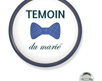 Badge 38MM/ témoin du marié noeud bleu