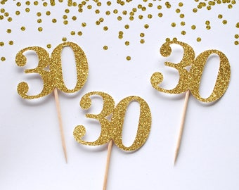 30 cupcake toppers | Birthday Cupcake Topper | Custom age cupcake Toppers