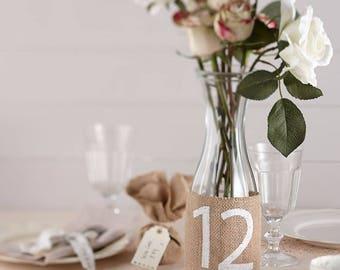 Vintage Hessian Wedding Table Numbers 1-12