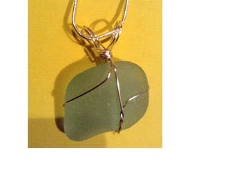 Nice green sea glass wrapped necklace