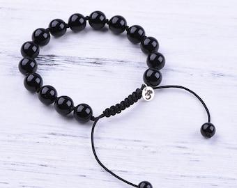 Black Onyx OM Bracelet || Onyx bracelet, Beaded bracelet, Yoga jewelry, Spiritual jewelry, Adjustable bracelet, Gemstone bracelet